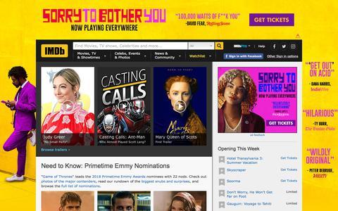 Screenshot of Home Page imdb.com - IMDb - Movies, TV and Celebrities - IMDb - captured July 13, 2018