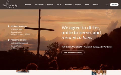 Screenshot of Home Page fcchurch.com - A Place for All - First Community Church - captured Oct. 10, 2018