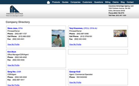 Screenshot of Team Page advantageagent.com - Company Directory Insurance Advantage Agency, LLC - Edina, Minnesota 55435 - captured Oct. 12, 2018
