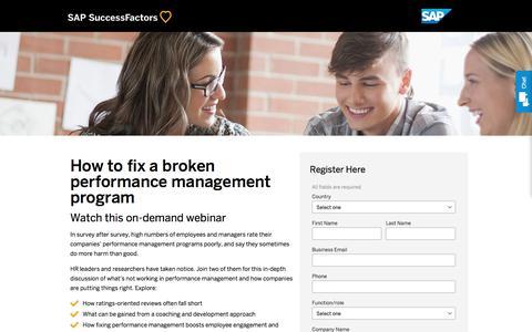 How to fix a broken performance management program-redesign             | SuccessFactors