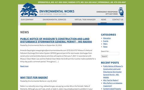 Screenshot of Press Page environmentalworks.com - News | Environmental Works - captured Nov. 9, 2016