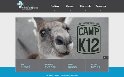 Screenshot of Home Page fbcowb.org - First Baptist Owensboro - captured July 4, 2018