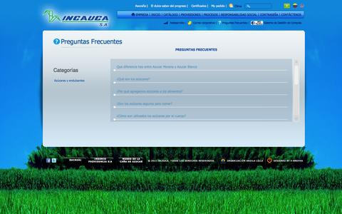 Screenshot of FAQ Page incauca.com - Frequently Asked Questions | INCAUCA S.A - captured Oct. 3, 2014