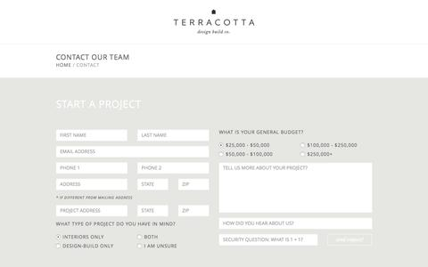 Screenshot of Contact Page Signup Page terracottadesignbuild.com - Contact Our Team - Terracotta Design Build Co. - captured Jan. 11, 2016