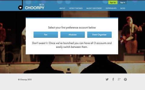 Screenshot of Signup Page choorpy.com - CHOORPY - captured Sept. 26, 2014