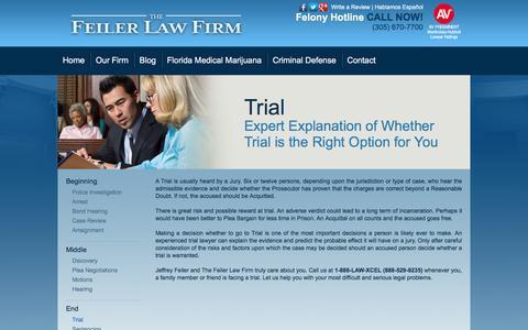 Screenshot of Trial Page jeffreyfeiler.com - Trial - The Feiler Law Firm - captured Feb. 11, 2016