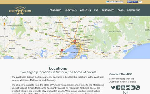 Screenshot of Locations Page australiancricketcollege.com - Locations | Two flagship locations in the Australian state of Victoria - captured Sept. 30, 2014