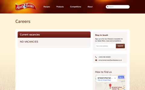 Screenshot of Jobs Page auntbessies.co.uk - Aunt Bessie's - Careers - captured Sept. 30, 2014