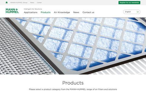 Screenshot of Products Page mann-hummel.com - MANN+HUMMEL Intelligent Air Solutions: Products - captured Sept. 26, 2017