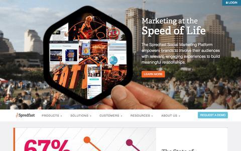 Screenshot of Home Page spredfast.com - Social Media Management | Enterprise Marketing Platform | Spredfast - captured Jan. 15, 2015