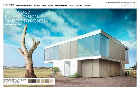 Screenshot of Home Page trespa.com - Trespa - captured Oct. 2, 2015