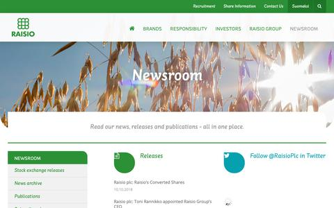 Screenshot of Press Page raisio.com - Newsroom | Raisio - captured Oct. 19, 2018