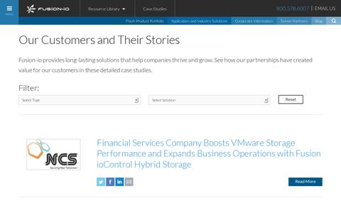 Screenshot of Case Studies Page fusionio.com - Case Studies :: Fusion-io - captured July 20, 2014