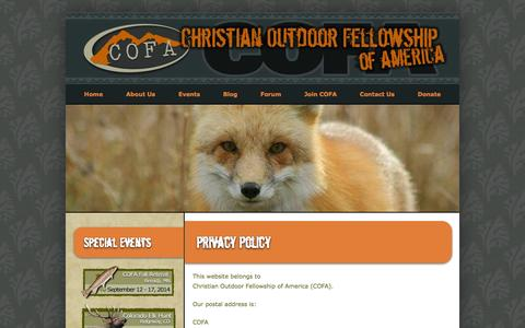 Screenshot of Privacy Page cofausa.org - Privacy Policy | Christian Outdoor Fellowship of America - captured Oct. 2, 2014