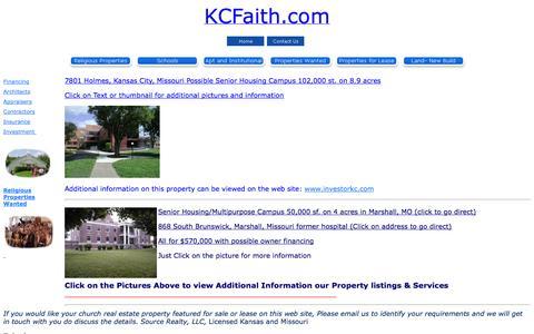 Screenshot of Home Page kcfaith.com - Kansas City Metro Church Property Home Page - captured Oct. 6, 2014