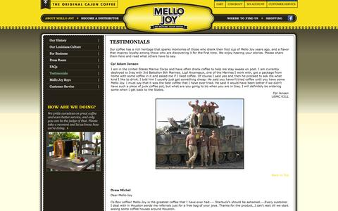 Screenshot of Testimonials Page mellojoy.com - Mello Joy / Testimonials - captured Feb. 12, 2016