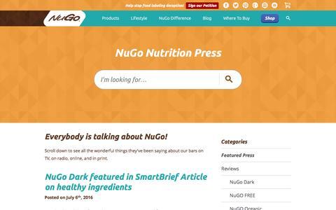 Screenshot of Press Page nugonutrition.com - Protein Bar Company   News and Press - NuGo Nutrition - captured Dec. 5, 2016