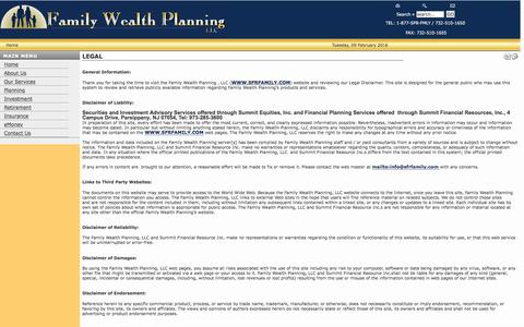 Screenshot of Terms Page sfrfamily.com - Family Wealth Planning / Summit Financial Resources  - Legal - captured Feb. 9, 2016