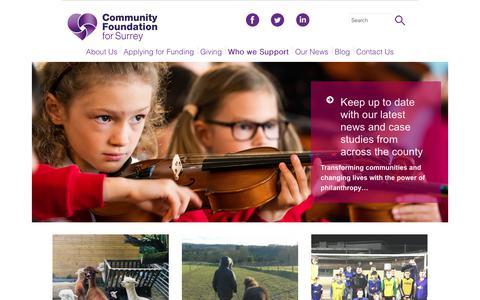 Screenshot of Case Studies Page cfsurrey.org.uk - Case Studies - Community Foundation for Surrey - captured Sept. 29, 2018