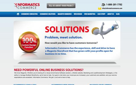 Screenshot of Home Page informaticscommerce.com - Informatics Commerce: eCommerce Design and Development, Houston, TX - captured Sept. 26, 2014