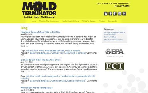 Screenshot of Blog moldterminatorinc.com - Mold Terminator, Inc. Blog | Mold Terminator Inc. - captured Oct. 26, 2014