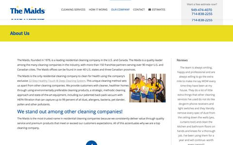 Screenshot of About Page themaidsoc.com - About Maidsoc house cleaning services- Orange County CA | The Maids Home Cleaning in Orange County, CA - captured July 5, 2019
