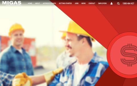 Screenshot of Home Page migas.com.au - MIGAS Apprentices and Trainees » MIGAS - captured Sept. 30, 2017