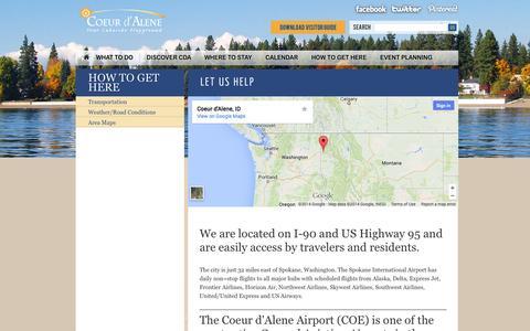 Screenshot of Maps & Directions Page coeurdalene.org - Let Us Help | Coeur d'Alene Visitors - captured Sept. 19, 2014