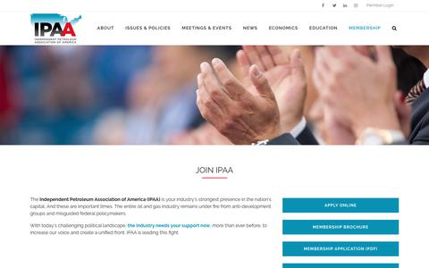 Screenshot of Signup Page ipaa.org - Become A Member | Join IPAA | Independent Petroleum Association of America - captured Oct. 11, 2018