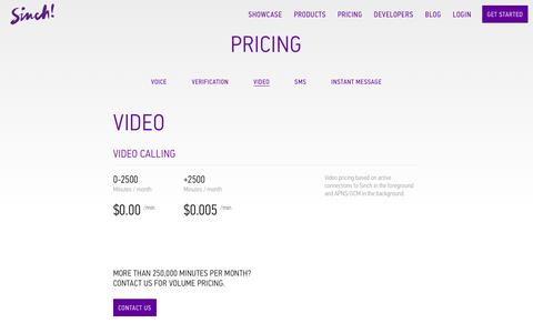 Screenshot of sinch.com - Video Pricing | Sinch - captured March 19, 2016