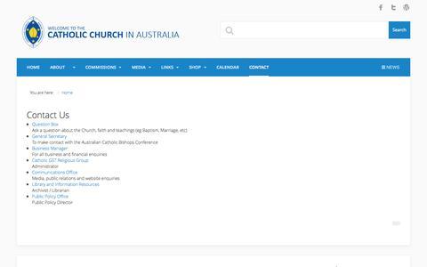 Screenshot of Contact Page catholic.org.au - Contact - Australian Catholic Bishops Conference - captured Oct. 30, 2014