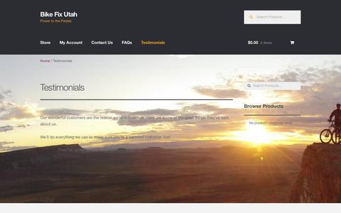 Screenshot of Testimonials Page bikefixutah.com - Testimonials – Bike Fix Utah - captured Feb. 7, 2016