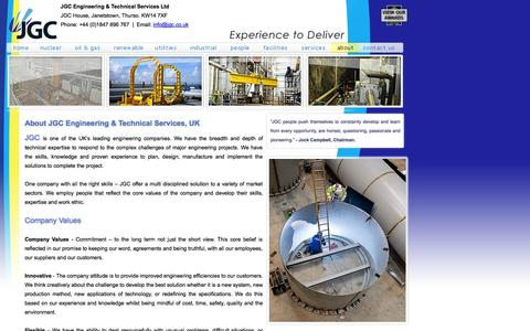 Screenshot of About Page jgc.co.uk - Engineering and Technical Services in the UK - captured Oct. 4, 2014