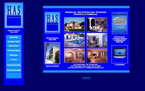 Screenshot of Home Page hasconstruction.com - H.A.S. CONSTRUCTION - captured Sept. 26, 2014
