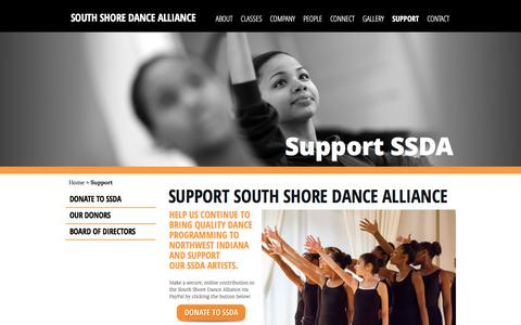 Screenshot of Support Page southshoredance.org - Support | South Shore Dance Alliance - captured May 25, 2016