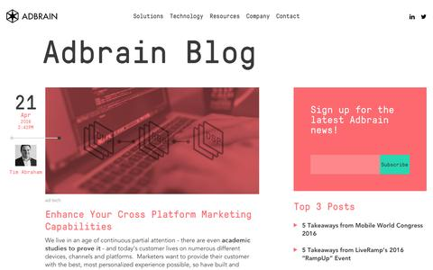 Screenshot of Blog adbrain.com - Blog | Adbrain - captured April 30, 2016