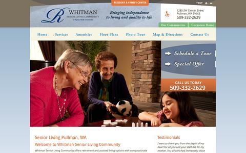 Screenshot of Home Page whitmanslc.com - Pullman Senior Living | Whitman Senior Living Community in Pullman, WA 99163 - captured Oct. 6, 2014