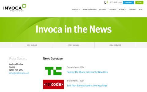 Screenshot of Press Page invoca.com - News & Press Releases - captured Sept. 16, 2014