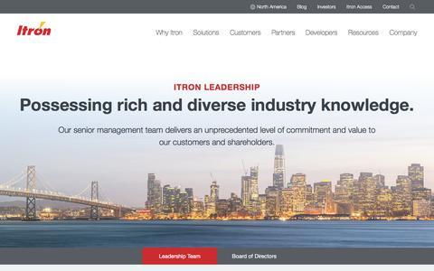 Screenshot of Team Page itron.com - Leadership - captured Aug. 2, 2019