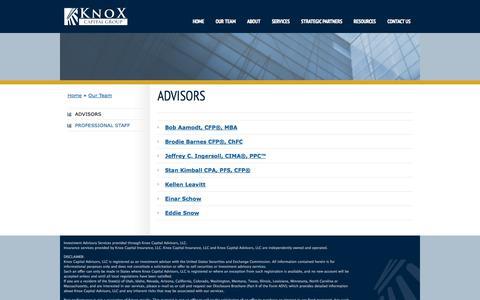 Screenshot of Team Page knoxcapitalgroup.com - Advisors   Knox Capital - captured Sept. 30, 2014