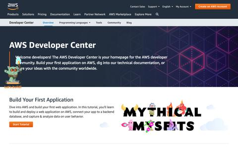 Screenshot of Developers Page amazon.com - AWS for Developers | Programming Languages, Tools, Community | AWS Developer Center - captured May 8, 2019