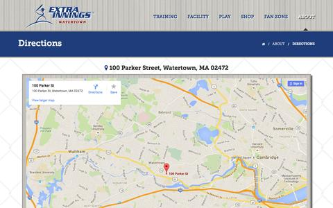 Screenshot of Maps & Directions Page extrainnings-watertown.com - Directions - 264 S. Main Street, Route 114, Watertown, MA 01949 | Extra Innings Watertown - captured July 18, 2016