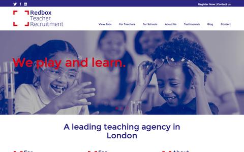 Screenshot of Home Page redboxteachers.com - Teaching Agency in London - Primary, Supply and Teaching Assistant Jobs | Redbox - captured Sept. 4, 2015