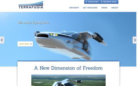 Screenshot of Home Page terrafugia.com - Welcome | Terrafugia - captured Jan. 14, 2015