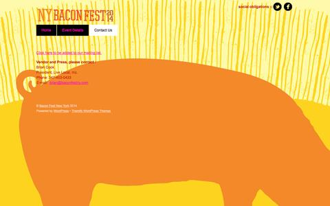Screenshot of Contact Page baconfestny.com - Contact Us - captured Oct. 2, 2014