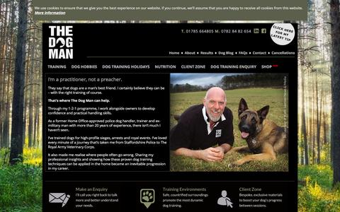 Screenshot of About Page thedogman.co.uk - Dog Training Specialist - The Dog Man In Staffordshire - captured Feb. 2, 2016