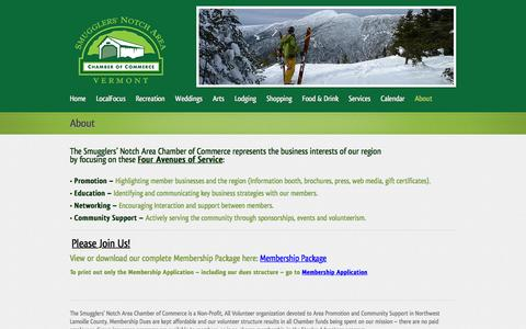 Screenshot of About Page smugnotch.com - About The Smugglers' Notch Area Chamber of Commerce | Smugglers' Notch Area Chamber of Commerce - captured June 17, 2016