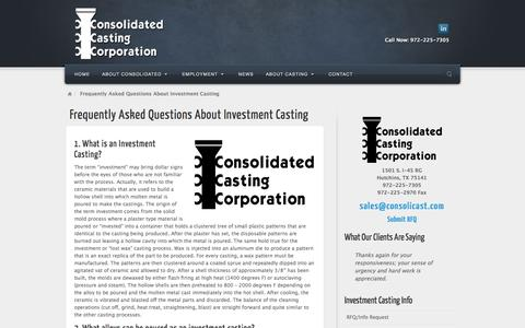 Screenshot of FAQ Page consolicast.com - Frequently Asked Questions About Investment Casting   Consolidated Casting Corporation - captured Jan. 30, 2016