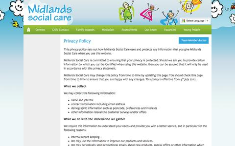 Screenshot of Privacy Page midlandssocialcare.co.uk - Privacy Policy « Midlands Social Care - captured Oct. 27, 2014