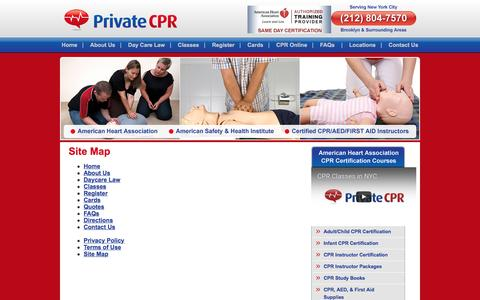 Screenshot of Site Map Page privatecpr.com - Site Map :: PrivateCPR Class Brooklyn - captured Nov. 13, 2016